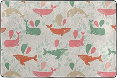 Tapis pour Salon Maison Chambre décoratif Anti-dérapant Couleur mer Baleines Tapis 36 x 24 Pouces paillassons Tapis de Sol