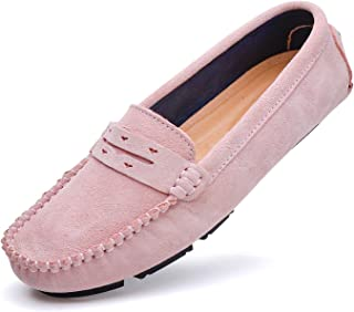 YiCeirnier Women's Loafers Driving Shoes Suede Casual Flat Boat Shoes