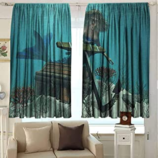 Bedroom Curtains Mermaid Mermaid in Ocean Sea Discovering Pirates Treasure Chest Mythical Art Print Room Darkening, Noise Reducing 63 W x 72 L Inches Azure Brown Cream