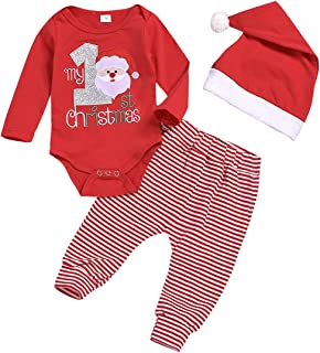 Baby Christmas Outfits Baby Boy Girl My 1st Christmas Romper Top Bodysuit +Santa Claus Stripe Pants+Christmas Hat Outfits Set