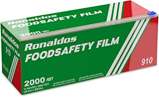 Ronaldos Food Safety Film, 18 inch x 2000ft Plastic Wrap, Commercial Grade, Great for Sealing and Storage, Used for Food S...