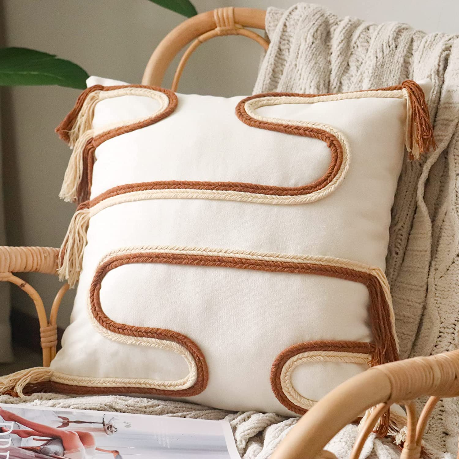 Jonhier Bohemian Throw Pillow Covers, Mid Century Simplicity Square Pillow Case with Fringes, Neutral Textured Cushion Cases, Boho Farmhouse Décor for Living Room and Bedroom (18'' x 18'', White)
