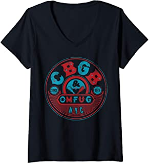 Femme CBGB - Retro 1973 T-Shirt avec Col en V