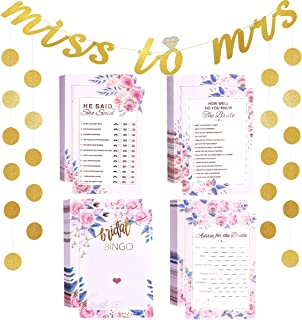Unomor Bridal Shower Games Card Pack with Banner, Circle Garland, How Well Do You Know The Bride(50), He Said She Said(50), Bridal Bingo(50), Advice Card(50) (Bridal Shower Game)