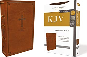 KJV, Thinline Bible, Leathersoft, Brown, Red Letter Edition, Comfort Print: Holy Bible, King James Version