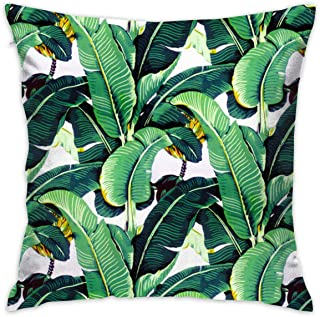 WHYG0 Zipper Throw Pillowcase Square Home Decorative Throw Pillow Covers, Martinique Banana Leaf Throw Cushion
