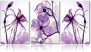 Meigan Art Modern Canvas Wall Art Home Decor Wall Art Painting Purple Flowers Art Wood Inside Framed Ready to Hang (12InchX16InchX3)