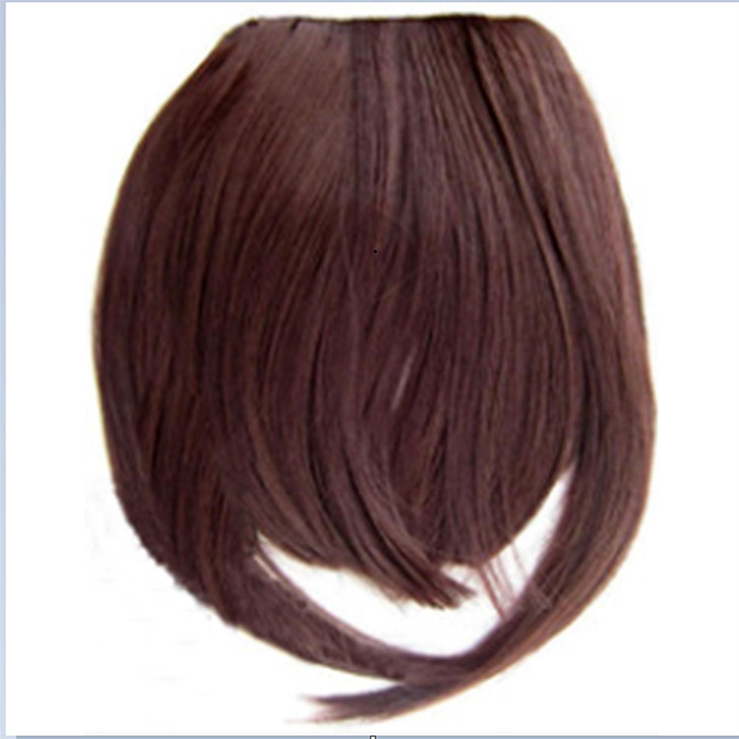 履歴書糞反逆者Doyvanntgo 2つの長いとフラットバンウィッグワンピースとストレートウィッグとLiuHaiの髪の延長 (Color : ブラウン)