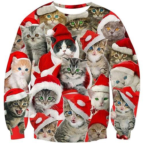 ebbcde7a4ab Goodstoworld Unisex 3D Christmas Pullover Sweatshirt Funny Xmas Animal Elf  Printed Long Sleeve T-Shirt