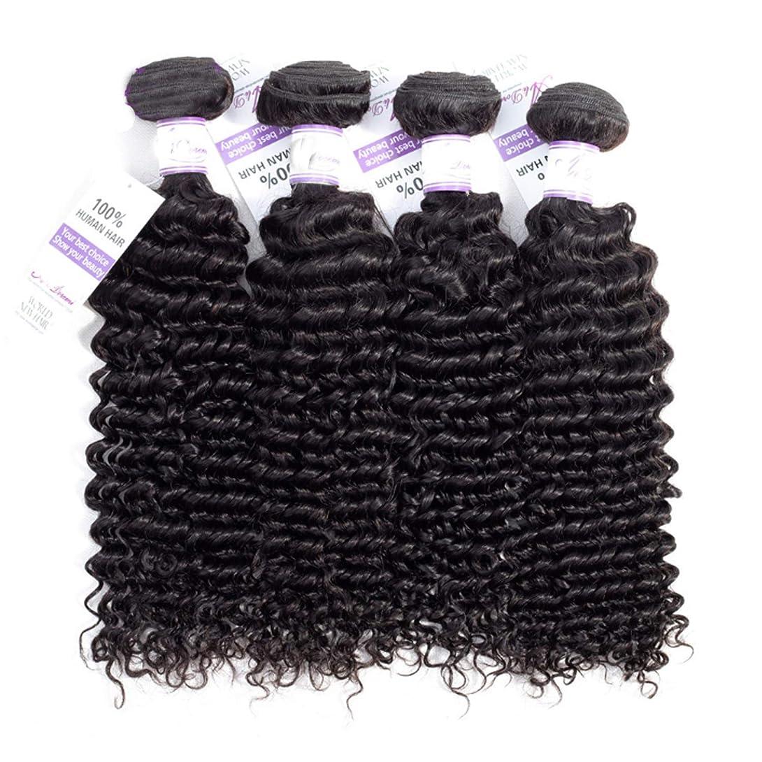 別に神秘的なルネッサンスブラジルのディープウェーブヘア織りバンドル100%人毛織りナチュラルカラー非レミー髪は4個購入することができます かつら (Stretched Length : 22 24 26 28 inches)