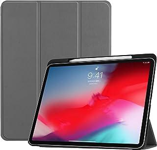Brusmo iPad Pro 11 ケース ペンホルダー付き iPad Pro 11インチ カバー 2018モデル 薄型 PUレザー 三つ折りスタンド オートスリーブ機能 (グレー)
