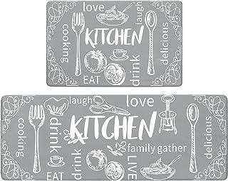 HEBE Anti Fatigue Kitchen Rugs Mats Set of 2 Comfort Standing Mat Non Slip Cushioned Comfort Floor Mat Wipe Clean Kitchen ...