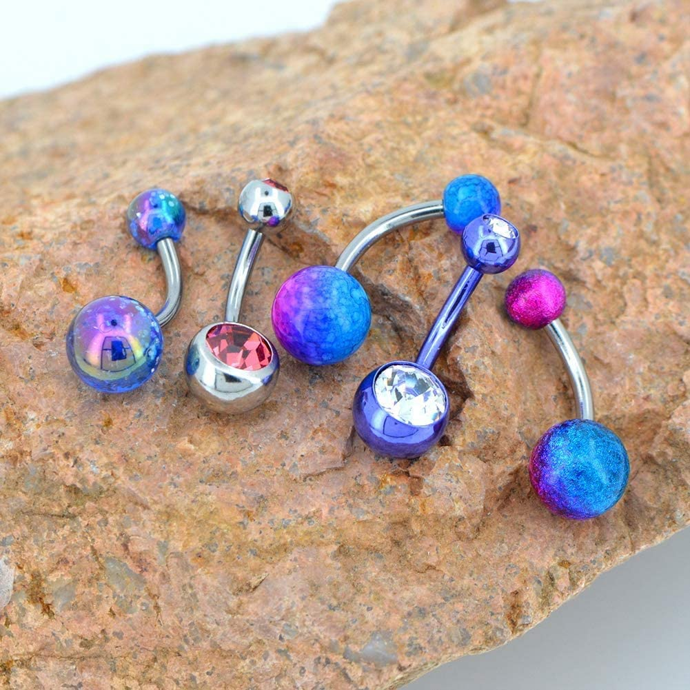 OUFER 5PCS Colorful Belly Button Rings Stainless Steel Belly Rings Navel Piercing Jewelry Curved Barbells