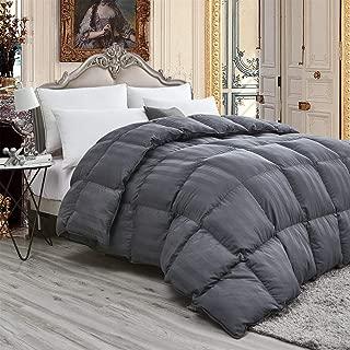 Luxurious Light Weight Goose Down Comforter Queen Size Duvet, Exquisite Gray Stripe Design, 1200 Thread Count 100% Egyptian Cotton Fabric, 750+ Fill Power, 45 oz Fill Weight