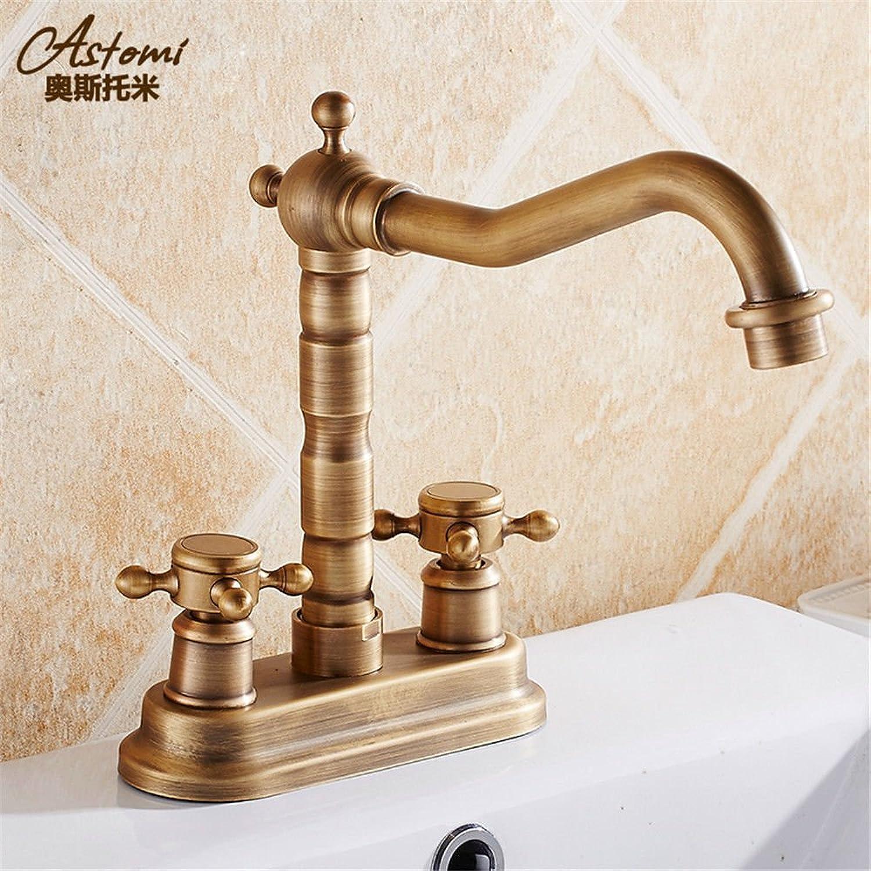 Gyps Faucet Basin Mixer Tap Waterfall Faucet Antique Bathroom Mixer Bar Mixer Shower Set Tap antique bathroom faucet All copper antique 2-hole basin mixer basin double-double-hole cold-hot water tap t