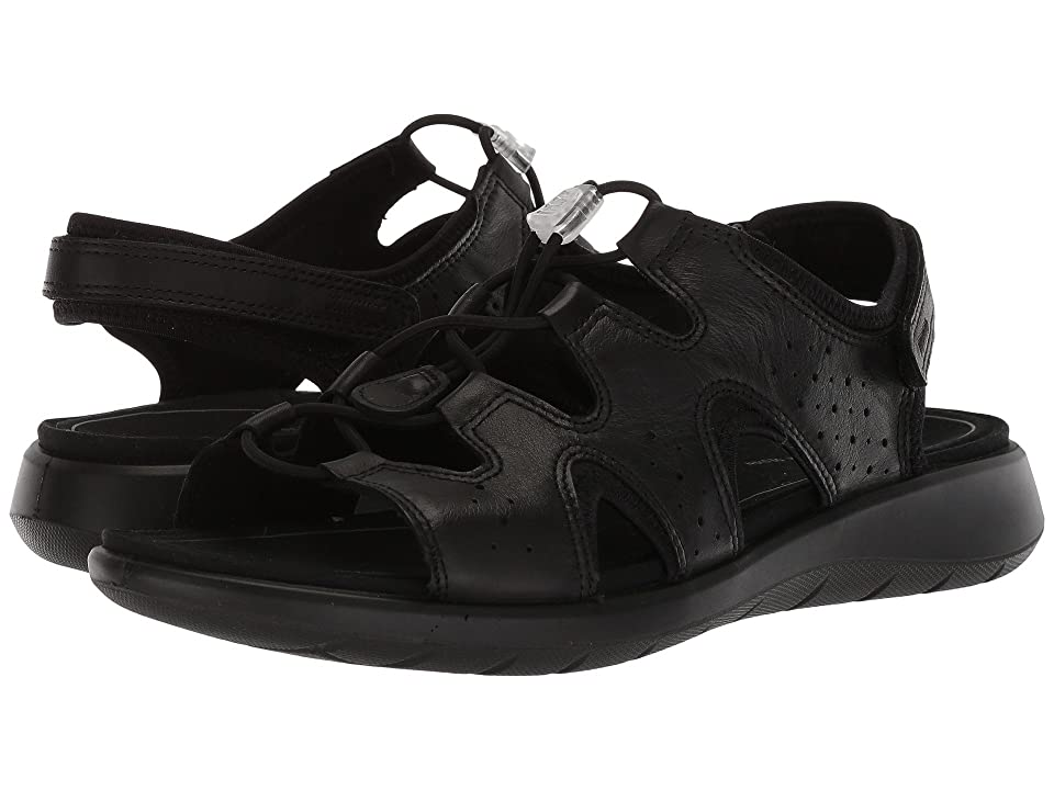 ECCO Soft 5 Toggle Sandal (Black Cow Leather/Cow Nubuck) Women