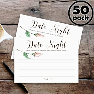50 Date Night Ideas Cards for Couple - Weddings & Bridal Shower Jar Advice Game Cards for Bride and Groom by Whatabee