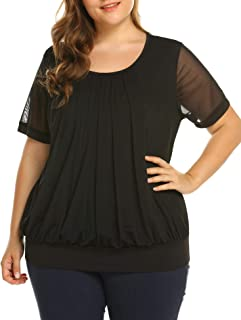 IN'VOLAND Women's Plus Size Blouses Short/Long Sleeve Tunic Tops Shirt Scoop Neck Pleated Front Fitted