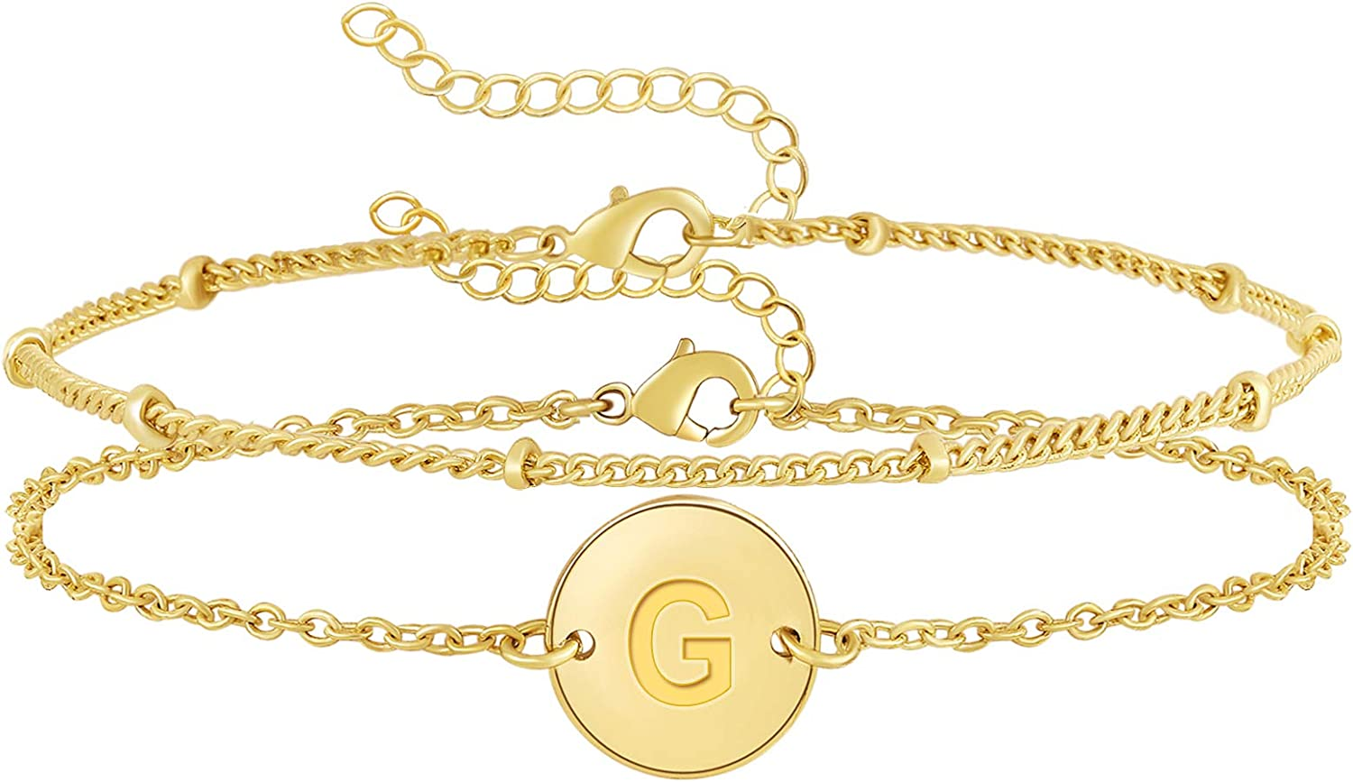 Layered Disc Initial Bracelets for Plated San Antonio Mall Persona 14k Women Finally resale start Gold