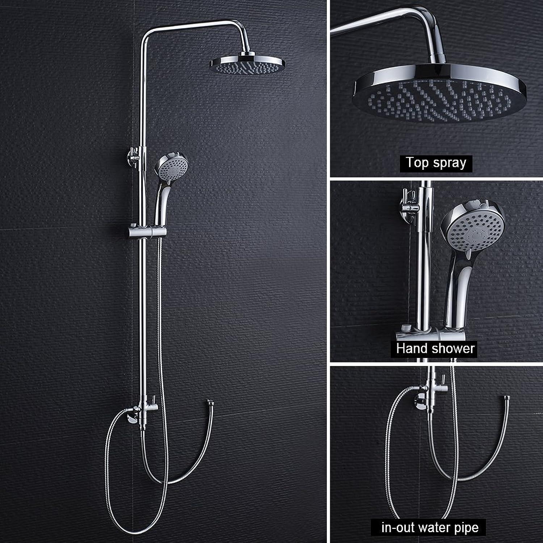 BONADE Duschsystem Duschset, Regendusche Duschsule, inkl. Duschkopf, überkopfbrause, Handbrause, Hhenverstellbare Duschstange Verchromt für Bad Badewanne