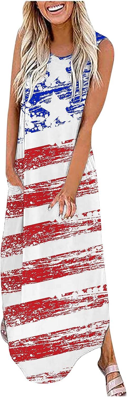ESULOMP Tank Maxi Dresses for Women American Flag 4th of July Sleeveless Long Dress Summer O-Neck Sundress with Pocket