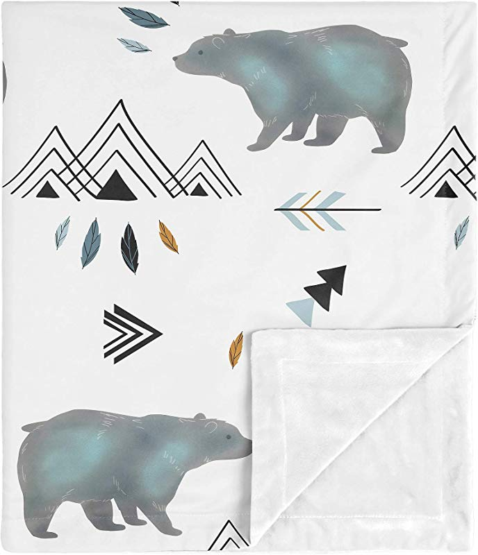 Sweet Jojo Designs Bear Mountain Watercolor Baby Boy Receiving Security Swaddle Blanket For Newborn Or Toddler Nursery Car Seat Stroller Soft Minky Slate Blue Black And White