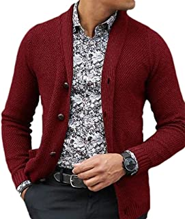 GAGA Mens Open Front Shawl Collar Knitwear Fashion Cardigan 1 XL