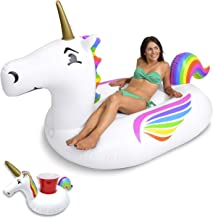 GoFloats Giant Inflatable Pool Floats with Bonus Drink Float, Choose from Our Awesome Styles (Unicorn, Dragon, Flamingo, Bull and Swan)