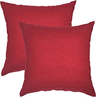 YOUR SMILE Pure Square Decorative Throw Pillows Case Cushion Covers Shell Cotton Linen Blend 18 X 18 Inches, Pack of 2 (Red)