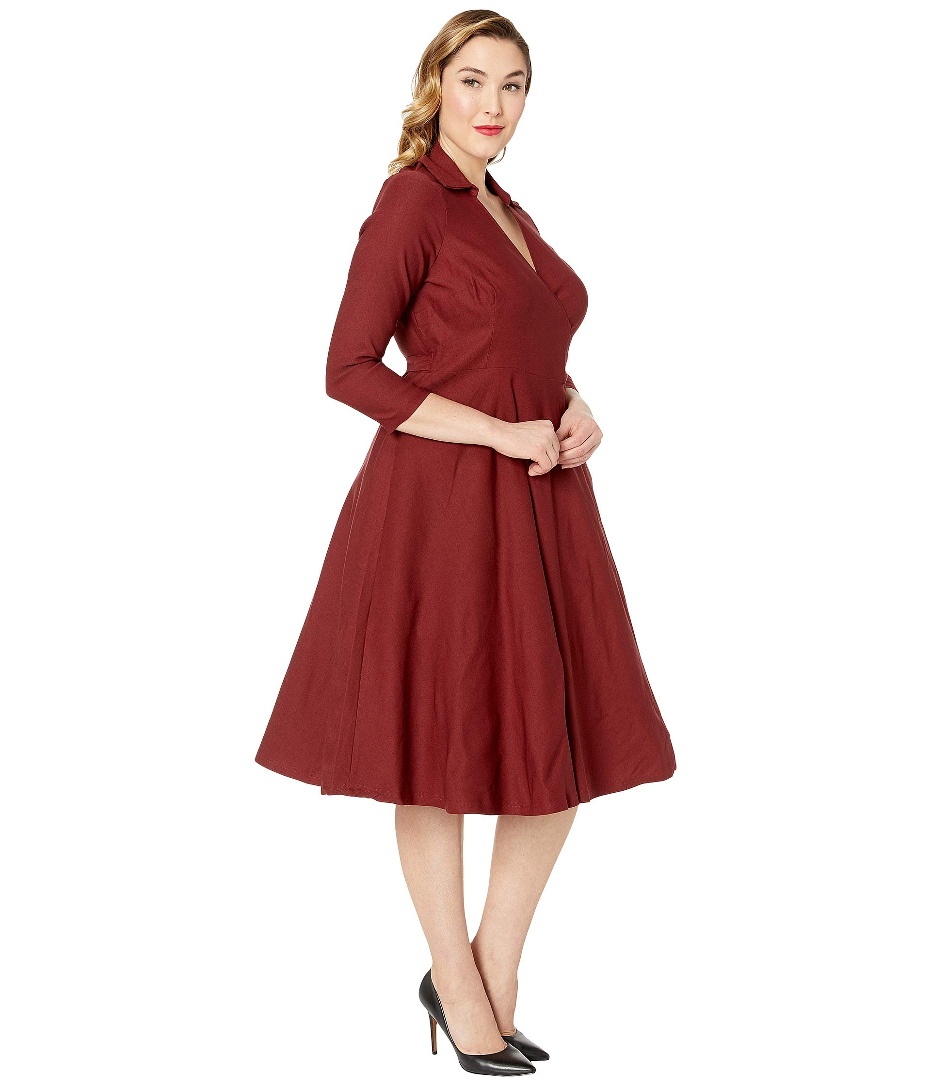 1950s Stretch Style Wrap Vintage Plus Anna Dress Sleeved Size Unique Burgundy tqaBS