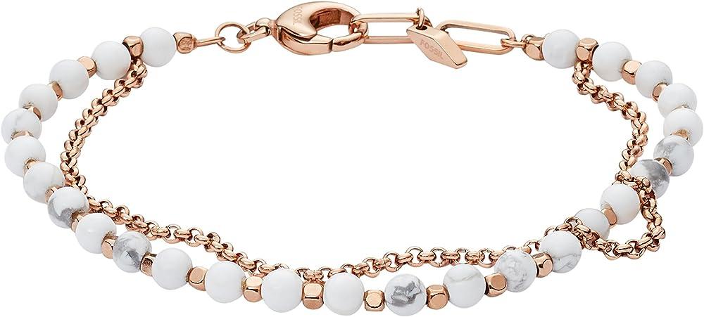 Fossil,bracciale in lega ottone di colore rose gold con finitura lucida,per donna Ja6774791