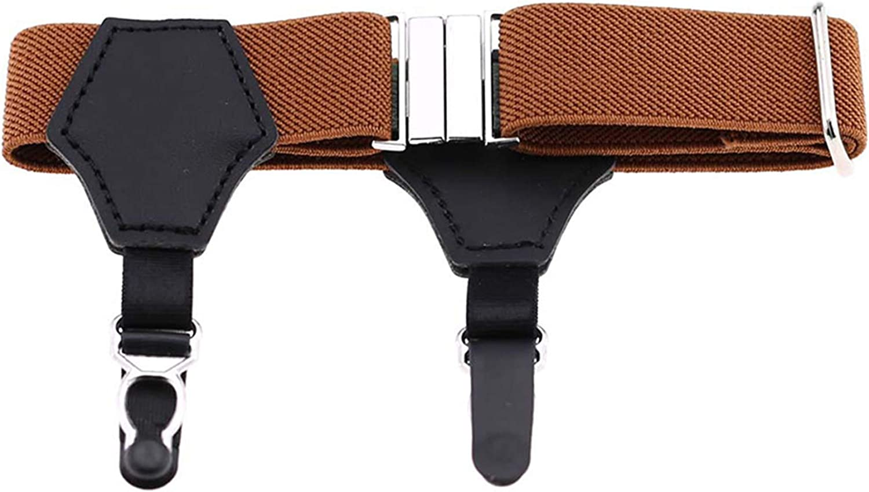 Grandiy Men's Women's Non-Slip Sock Garter Belt Holders Suspender Strap with Metal Clips 1 Pair,Double-Headed Gourd Clip Brown