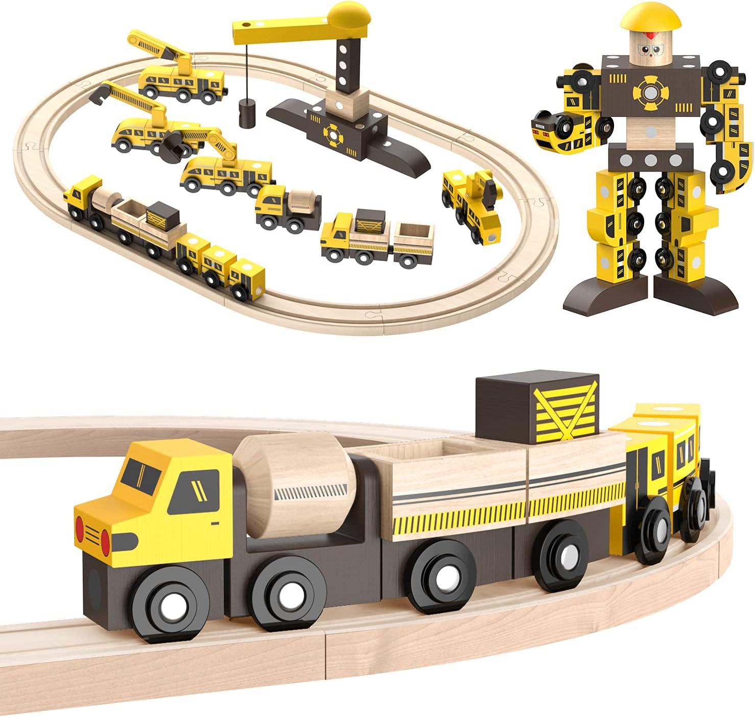 Ohuhu Wooden Train Set for Pl Railway Branded goods Vehicle Boys Rapid rise Magic