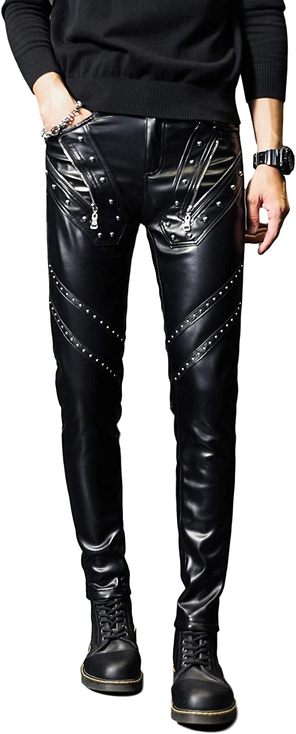 Idopy Men`s Rock Steampunk Studded PU Fit Slim Leather Pants Outlet SALE wit High material