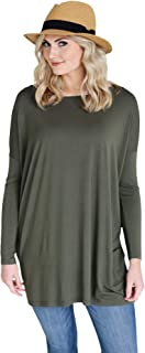 Women's Bamboo Long Sleeve Tunic, Comfy Basic Dolman Style Tunic with Oversized Fit - 11 Colors Available