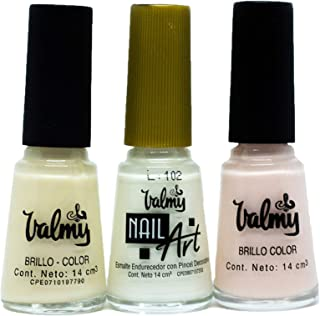 Valmy Colección de Esmaltes Tradicionales Normales - Pack Uñas Francesas (Nail Art Blanco Brillo Color 26 y Brillo Color ...