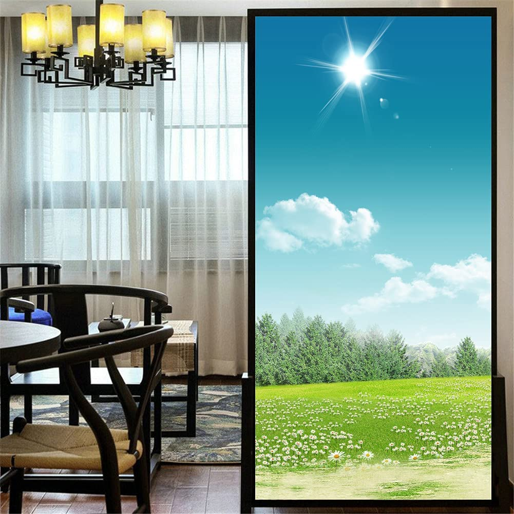 Deluxe LXDWEI Privacy Window Film Nippon regular agency Customize Beautiful 86A Meadow Static