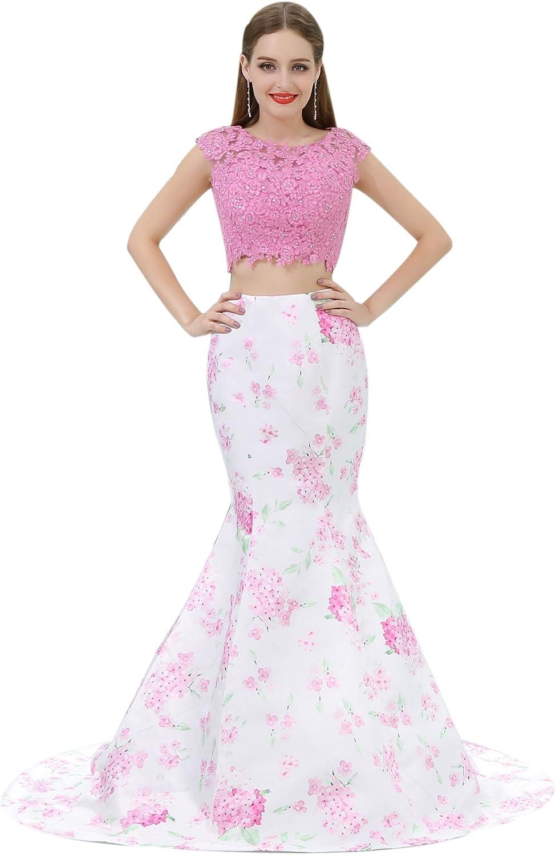 Engerla Women Floral Print Long Sleeveless Lace Applique Ball Gown Evening Gown