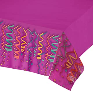 Plastic Tablecloths for Parties,- 4 Pack - Party Table Cloths Disposable, Purple Rectangular Table Covers, for Birthday Parties, Neon, Glow in the Dark Party Supplies,- 54