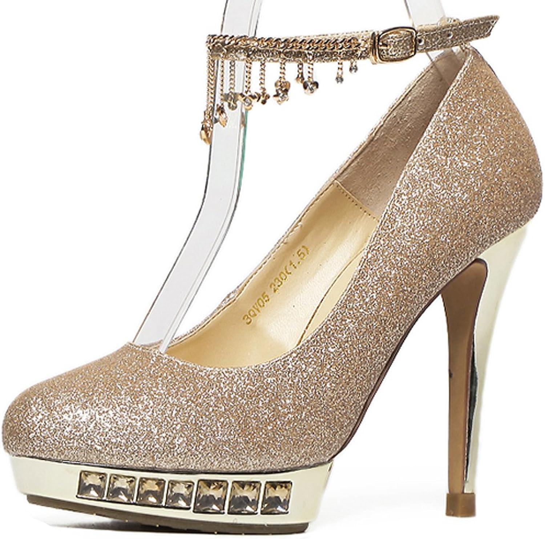 YooPrettyz Round Toe Platform Wedding Pumps Ankle Strap Evening Party High Heel Pumps shoes