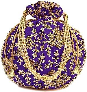 Indische Ethnische Designer bestickte Seide Potli Tasche Batwa Perlen Griff Geldbörse Clutch Geldbörse für Frauen