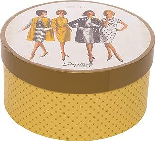 Simplicity Vintage Fashion 1960's Round Sewing Storage Box, 7.25'' W x 7.25'' L x 3.75'' H