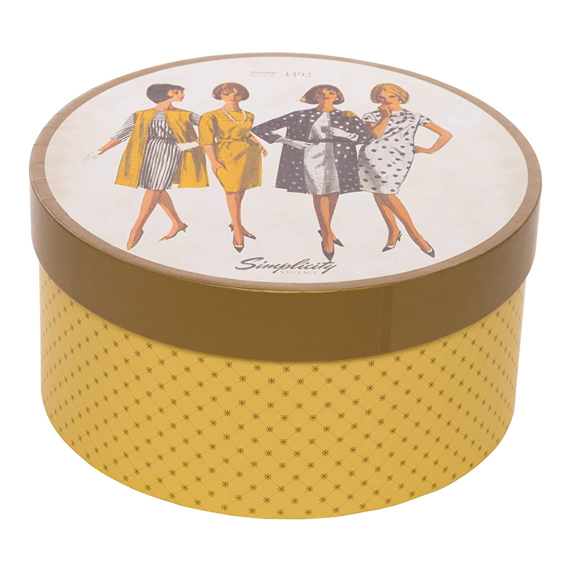 Simplicity Vintage Fashion 1960's Round Sewing Storage Box, 7.25'' W x 7.25'' L x 3.75'' H