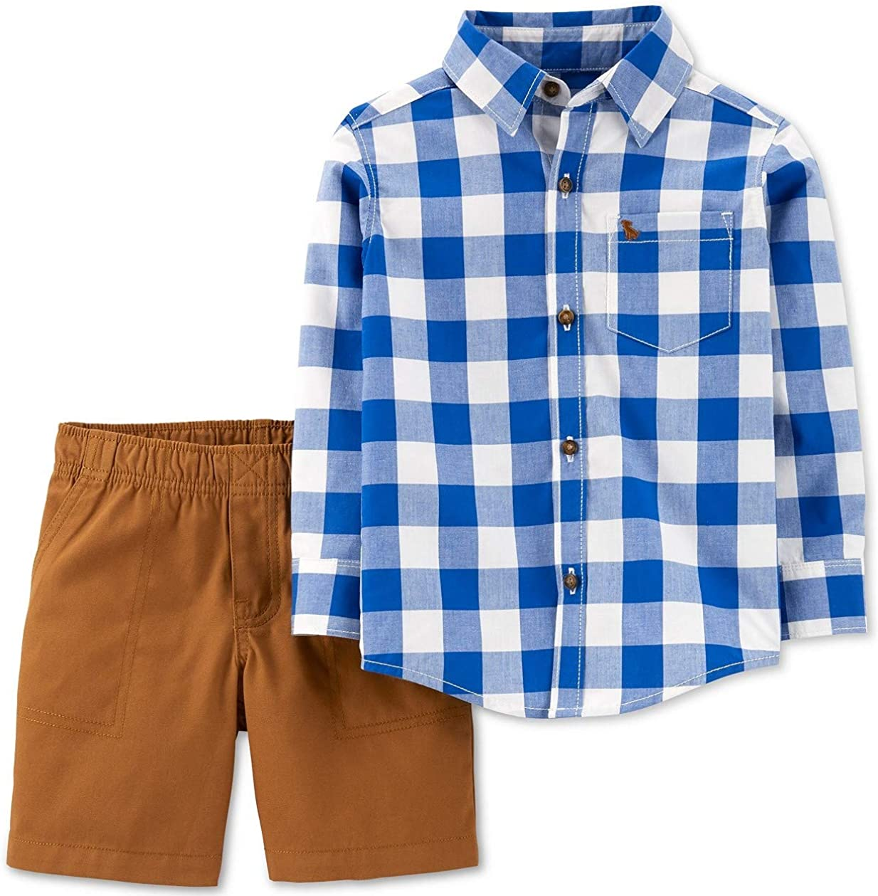 Carter's Baby Boys 2-Piece Checkered Button-Front Top & Canvas Shorts Set, 18 Months