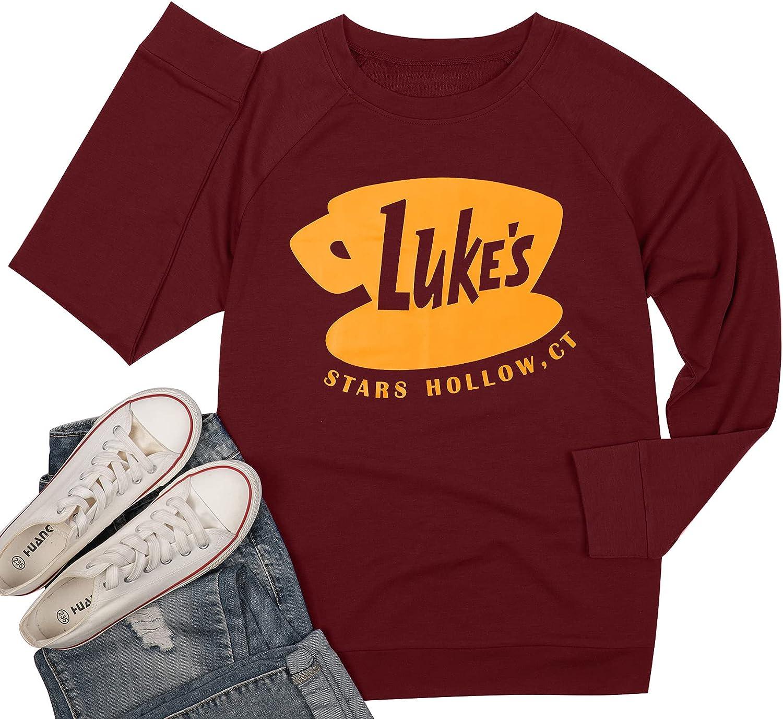 DUTUT Luke's Diner Sweatshirt Thin Lightweight Shirt Funny Graphic Long Sleeve Women Stars Hollow Pullover Fall Tops
