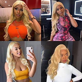 613 Body Wave Bundles with Frontal Brazilian Human Hair Blonde Bundles and Frontal 613 Platinum Human Hair Body Wave Honey Blonde Bundles with Closure Brazilian Hair Bundles (18 20 22+16, 613#)