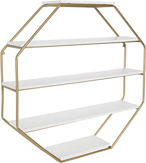 Kate and Laurel Lintz Large Modern Octagon Floating Wall Shelves with Metal Frame, Gold and White