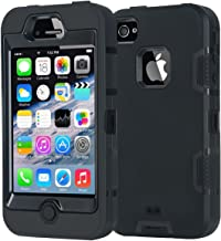 iPhone 4 Case,Apple iPhone 4 4S Case,Shockproof Heavy Duty Combo Hybrid Defender High Impact Body Rugged Hard PC & Silicon...