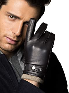 YISEVEN Men's Touchscreen Lambskin Winter Leather Gloves Cashmere Lined