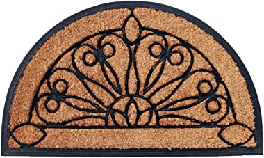 Onlymat Half Moon Doormat, Natural Coir and Rubber Mat with Slip and Fall Prevention for Indoor and Outdoor Places (60 x 90 x